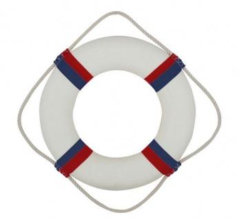 Rettungsring Deko rot / blau / weiß 35 cm Styropor mit Stoff - Vorschau