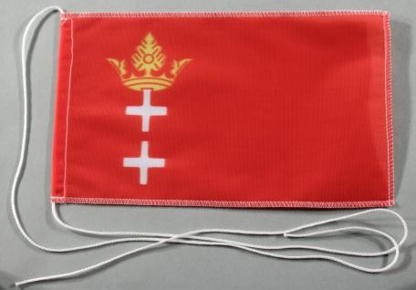 Tischflagge Danzig 25x15 cm optional mit Holz- oder Chromständer Tischfahne T...