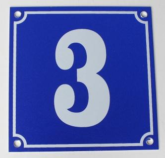 Hausnummernschild Aluminium Aluschild 1 mm Stärke Alu Schild Nr. 3 blau