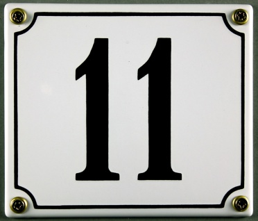 Hausnummernschild 11 weiß 12x14 cm sofort lieferbar Schild Emaille Hausnummer...