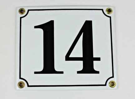 14 weiß / schwarz Serif 14x12 cm sofort lieferbar Schild Emaille Hausnummer