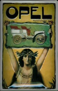 Blechschild Opel Motorwagen Oldtimer Auto Schild Nostalgieschild