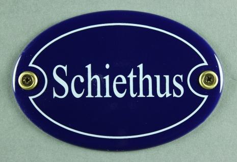 Emaille Türschild Schiethus blau oval Schild Emailleschild Metallschild Blech...