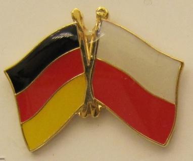 Polen / Deutschland Freundschafts Pin Anstecker Flagge Fahne Nationalflagge