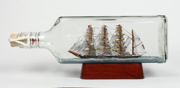 Passat eckige Ginflasche 0, 7 Liter Buddelschiff Flaschenschiff - Vorschau 2