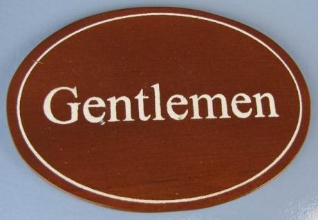 Ovales Holz - Türschild Gentlemen 7x10 cm dunkles Holzschild Toilette