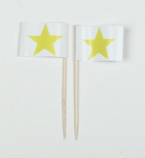 Party-Picker Flagge Stern gelb Papierfähnchen in Spitzenqualität 50 Stück Beutel