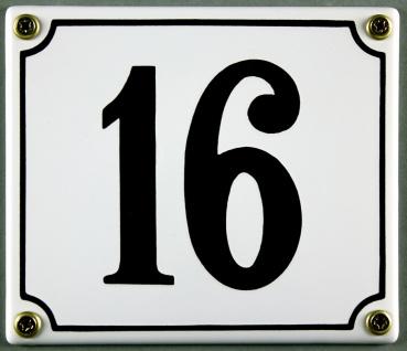 Hausnummernschild 16 weiß 12x14 cm sofort lieferbar Schild Emaille Hausnummer...