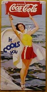 Blechschild Coca Cola it cools you retro Schild Nostalgie Werbeschild