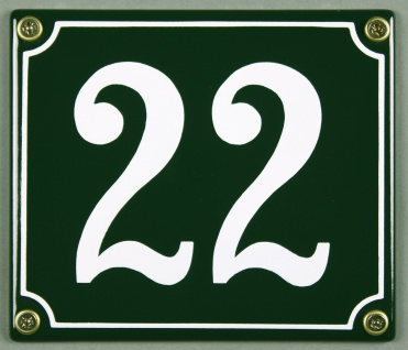 Hausnummernschild 22 grün 12x14 cm sofort lieferbar Schild Emaille Hausnummer...