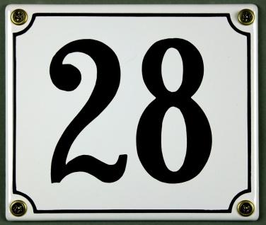Hausnummernschild 28 weiß 12x14 cm sofort lieferbar Schild Emaille Hausnummer...
