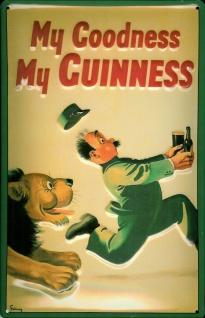 Blechschild Guinness Bier Löwe Flucht Goodness retro Schild Deko Werbeschild