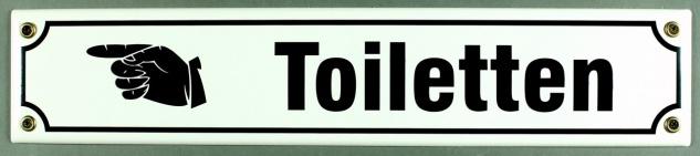 Strassenschild Toiletten Hand links 40x8 cm Email Strassen Schild Emaille WC ...