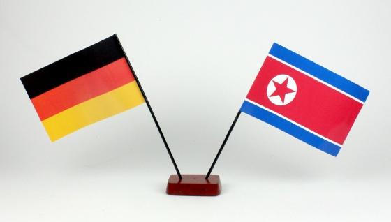 Mini Tischflagge Nordkorea Nord Korea 9x14 cm Höhe 20 cm mit Gratis-Bonusflag...