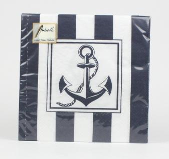 Maritime Servietten Anker Tau blau weiß gestreift maritim Tischdeko Dekoratio...