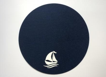 Platzset rund dunkelblau 2-teilig Anker und Schiff Filz Tischmatte - Vorschau 3