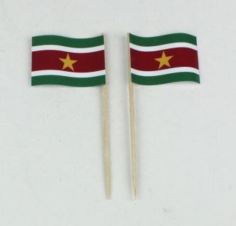 Party-Picker Flagge Suriname Papierfähnchen in Spitzenqualität 50 Stück Beutel