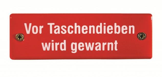 Eisenbahn Schild Vor Taschendieben wird gewarnt Emaille
