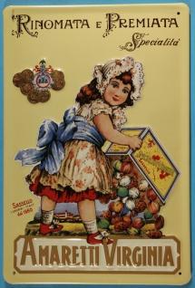 Blechschild Amaretti Virginia Italien Kind Hochformat Schild Nostalgieschild
