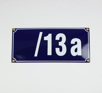 /13a blau Blockschrift 26x12 cm sofort lieferbar Schild Emaille 5-stellige Ha...