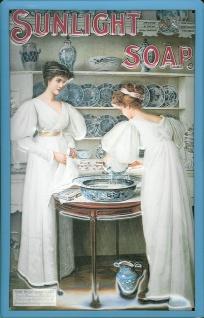 Blechschild Sunlight Soap 2 Frauen Schild retro Werbeschild Nostalgieschild