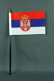 Kleine Tischflagge Serbien 10x15 cm optional mit Tischfähnchenständer