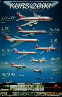 Blechschild Nostalgieschild Interflug - Kurs 2000 DDR Flugzeuge