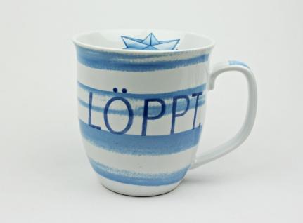 Maritimer Becher Löppt gestreift Tasse Kaffee Becher Andenken weiß blau
