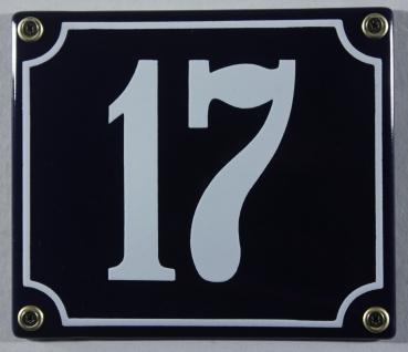 Hausnummernschild Emaille 17 blau - weiß 12x14 cm sofort lieferbar Schild Ema...