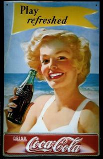 Blechschild Coca Cola Play Refreshed Strand Meer Werbeschild Schild Nostalgie...