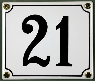 Hausnummernschild 21 weiß 12x14 cm sofort lieferbar Schild Emaille Hausnummer...