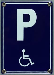 Emaille Schild Parkplatz Behinderte Behindertenparkplatz Rollstuhl Verkehrssc...