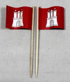 Party-Picker Flagge Hamburg Papierfähnchen in Spitzenqualität 50 Stück Beutel