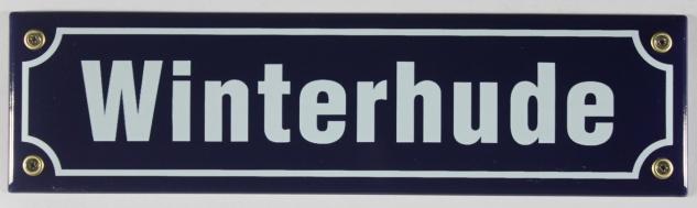Strassenschild Winterhude 30x8 cm Stadtteil Souvenir Hamburg Emaille Schild E...