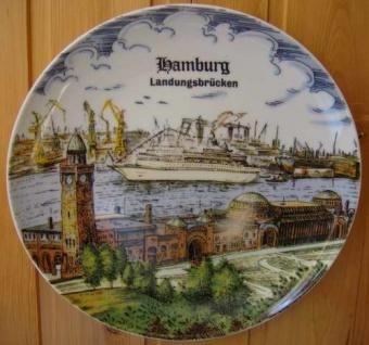 Wandteller St. Pauli Landungsbrücken Hamburg Andenken Teller mit Wandaufhängung