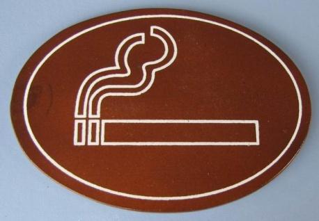 Ovales Holz - Türschild Rauchen erlaubt Piktogramm 7x10 cm dunkles Holzschild