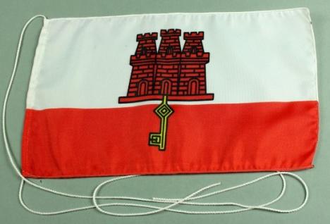 Tischflagge Gibraltar 25x15 cm optional mit Holz- oder Chromständer Tischfahn...