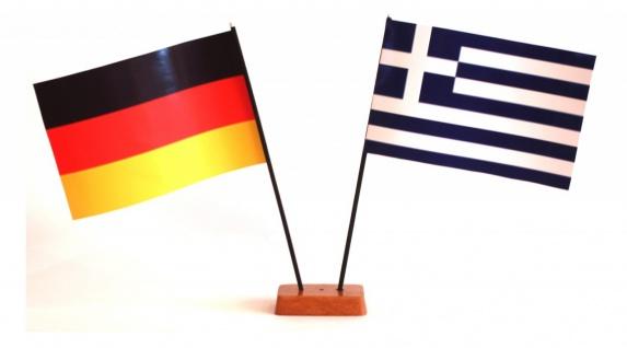 Mini Tischflagge Griechenland 9x14 cm Höhe 20 cm mit Gratis-Bonusflagge und H...