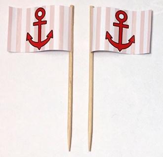 Party-Picker Flagge Anker rot/weiß Papierfähnchen in Spitzenqualität 50 Stück...