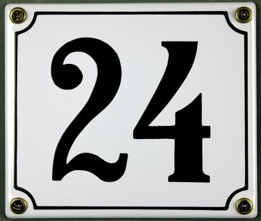 Hausnummernschild 24 weiß 12x14 cm sofort lieferbar Schild Emaille Hausnummer...