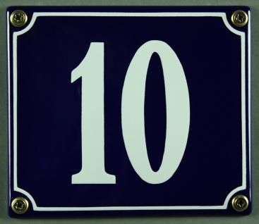 Hausnummernschild Emaille 10 blau - weiß 12x14 cm sofort lieferbar Schild Ema...