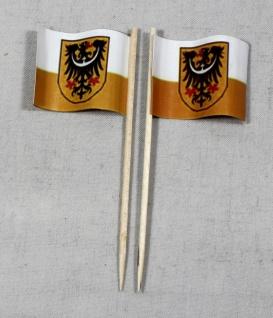 Party-Picker Flagge Niederschlesien Papierfähnchen in Spitzenqualität 50 Stüc...