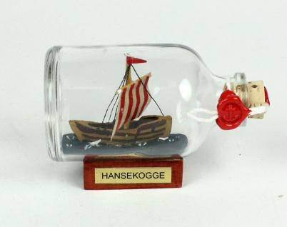 Bremer Hansekogge Mini Buddelschiff 50 ml ca. 7, 2 x 4, 5 cm Flaschenschiff