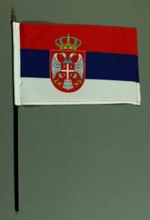Tischflagge Serbien 25x15 cm BASIC optional mit Tischflaggenständer