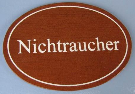 Ovales Holz - Türschild Nichtraucher 7x10 cm dunkles Holzschild