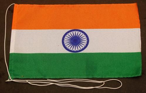 Tischflagge Indien 25x15 cm optional mit Holz- oder Chromständer Tischfahne T...