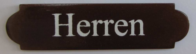 Eckiges Holz - Türschild Herren 3x12 cm dunkles Holzschild