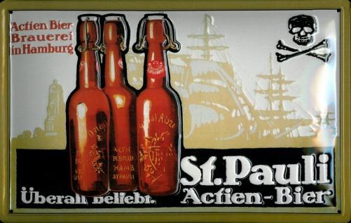 Blechschild St. Pauli Bier Totenkopf Brauerei Hamburg Schild Werbeschild Nost...