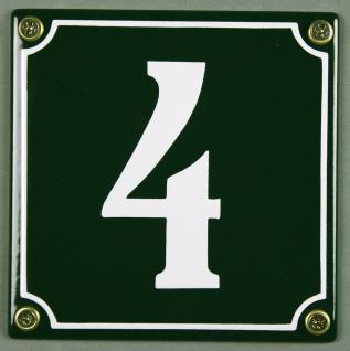 Hausnummernschild 4 grün 12x12 cm sofort lieferbar Schild Emaille Hausnummer ...