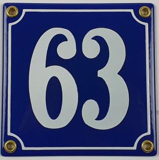 63 blau Clarendon 12x12 cm sofort lieferbar 3-stellig Schild Emaille Hausnummer